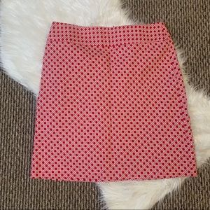 Talbots Petite Shift Skirt Red and White Size 12P